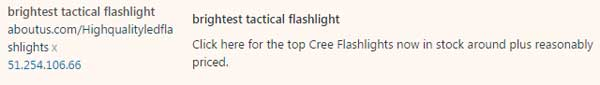 "Spam comments link to Simon Flashlight's aboutus.com profile page ""Highqualityledflashlights"""