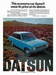 "1972 Datsun 1200 ad ""This economy car doesn't wear its price on its sleeve."""