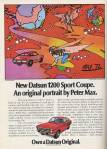 "Datsun 1200 Sport Coupe classic ad ""New Datsun 1200 Sport Coupe. An original portrait by Peter Max."""