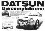 "1967 Datsun 1600 classic ad ""Datsun - the complete one."""
