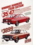 "1979 Datsun 210 vintage ad ""Winning numbers from Datsun"" 35/47 MPG, $3899 MSRP"