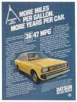 """Vintage Datsun 210 ad """"More miles per gallon. More years per car. 36/47 MPG"""""""