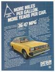 "Vintage Datsun 210 ad ""More miles per gallon. More years per car. 36/47 MPG"""
