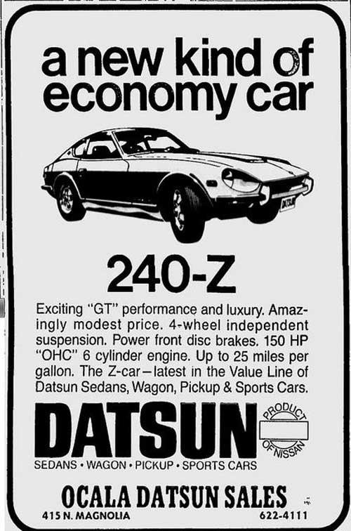 """1970 Datsun 240z vintage ad """"A new kind of economy car. 240-Z"""""""