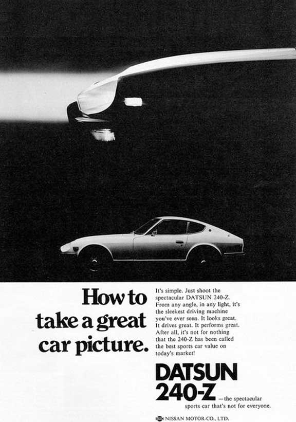 "1972 Datsun 240-Z vintage advertisement ""How to take a great car picture."""