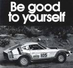 "Datsun 240z vintage racing ad ""Be good to yourself."""