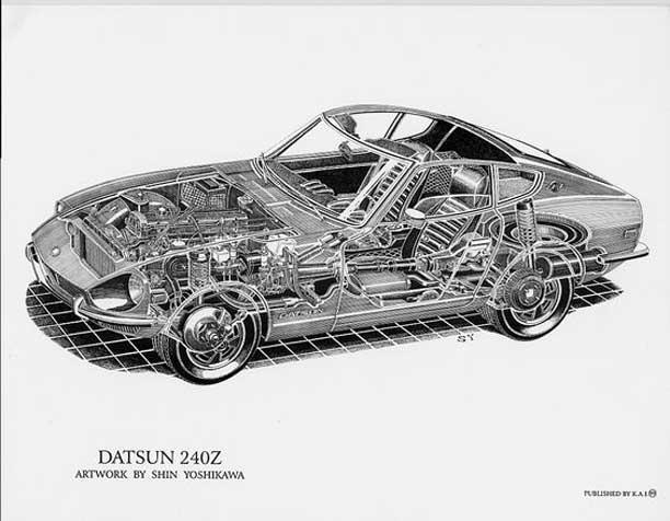 Datsun 240z classic cutaway illustation by Shin Yoshikawa.