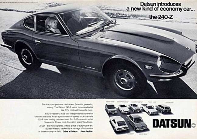 "Datsun 240-Z classic ad ""Datsun introduces a new kind of economy car... the 240-Z"" with full Datsun lineup on bottom of page."
