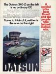 "Datsun 240-Z vintage ad ""The Datsun 240-Z on the left is no ordinary GT... Come to think of it, neither is the one on the right."""