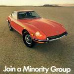 "Datsun 240-Z press photo vintage ad ""Join a Minority Group."""