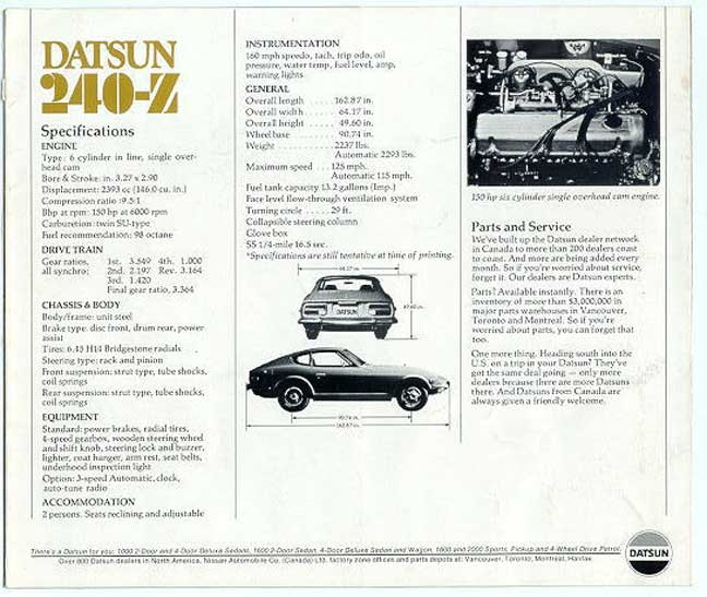Datsun 240-Z vintage OEM original specifications spec sheet manual
