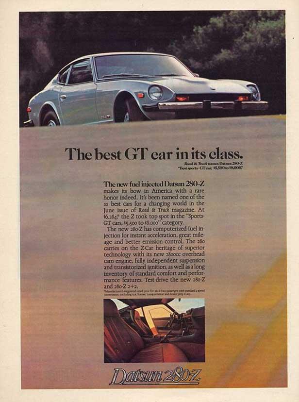 """Datsun 280z classic ad """"The best GT car in its class."""""""