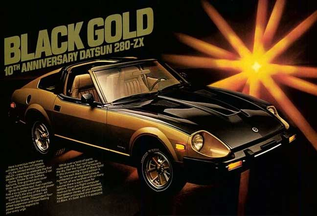 """Datsun 280zx classic ad """"BLACK GOLD 10th Anniversary Datsun 280-ZX"""" 2"""