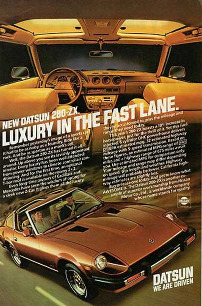 "Datsun 280zx classic ad ""New Datsun 280-ZX. Luxury in the Fast Lane."""