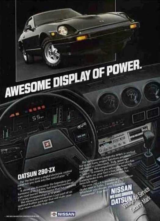 "1983 Datsun 280zx vintage advertisement ""Awesome display of power."""