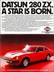 "Datsun 280zx classic advertising ""Datsun 280zx. A star is born."""