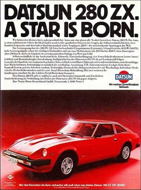 """Datsun 280zx classic advertising """"Datsun 280zx. A star is born."""""""