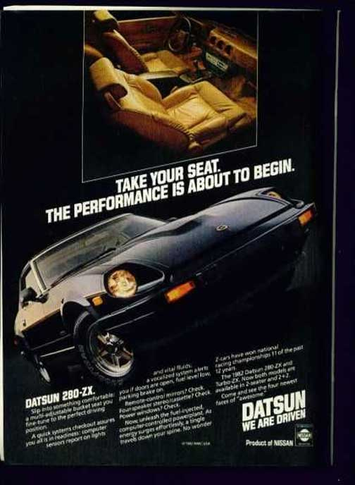 """Datsun 280zx vintage advertisement """"Take your seat. The performance is about to begin."""""""