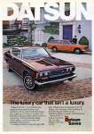 "1974 Datsun 610 classic ad ""The luxury car that isn't a luxury."""