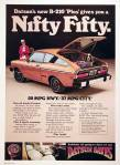 "Datsun B-210 classic ad ""Datsun's new B-210 'Plus' gives you a NIFTY FIFTY. 37/50 MPG"""