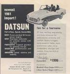 "1961 Datsun classic newspaper ad ""Newest 1961 import! Fun for a foursome."""