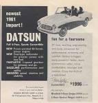 "1961 Datsun classic newspaper ad ""Newest 1961 import! Fun for a foursome."""