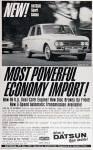"1967 Datsun RL-411 Sport Sedan vintage ad ""New! Datsun Sport Sedan. Most Powerful Economy Import!"""