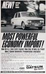 "1967 Datsun RL-411 Sport Sedan vintage ad ""New! Datsun Sport Sedan. Most Powerful Economy Import!"""