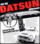 "Datsun 1600 classic ad ""The big DATSUN difference... turns on 135 beautiful horses."""