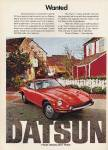 "Datsun 240-Z classic vintage advertisement ""Wanted."""