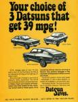 "1975 Datsun B-210 old advertisement ""Your choice of 3 Datsuns that get 39 mpg!"""
