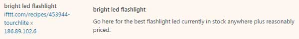 A spam comment links to the page on IFTTT created to promote Simon Flashlights.